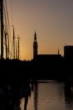 Silhouette of sailing boats and the Jozef cathedral in Groningen Royalty Free Stock Images