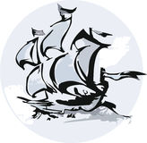 Silhouette of sailing ship Royalty Free Stock Image