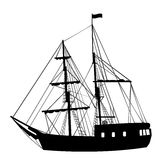 Silhouette of sailing ship on white background royalty free illustration