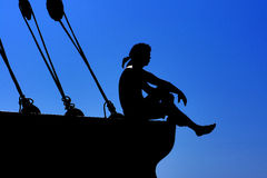 Silhouette of the sailor Stock Photo