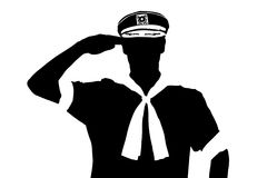 A silhouette of a sailor saluting. Isolated on white background vector illustration