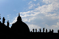 Silhouette of Saint Peters Basilica Royalty Free Stock Images