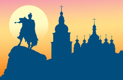 Saint Sophia Cathedral and monument to Bogdan Khme. Silhouette of Saint Sophia Cathedral and monument to Bogdan Khmelnitsky in Kiev, Ukraine Royalty Free Stock Photos