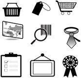 Silhouette sales and commerce material icon collec Stock Photos