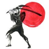 Silhouette Samurai. Chinese style. Watercolor hand painting illustration. Silhouette Samurai, women in traditional clothing. Chinese style, Watercolor hand royalty free illustration