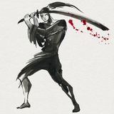Silhouette Samurai. Chinese style. Watercolor hand painting illustration. Silhouette Samurai, women in traditional clothing. Chinese style, Watercolor hand vector illustration
