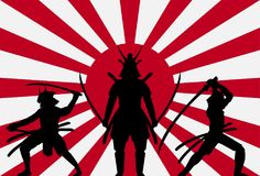 Silhouette samurai on rising sun japan flag. A silhouette samurai on rising sun japan flag Stock Photography
