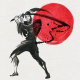 Silhouette Samurai. Chinese style. Watercolor hand painting illustration. Silhouette Samurai, women in traditional clothing. Chinese style, Watercolor hand stock illustration