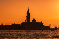 Silhouette of San Girogio Maggiore Church in Venice Stock Image
