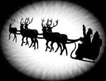 Silhouette of santa. And his star and reindeer Stock Image