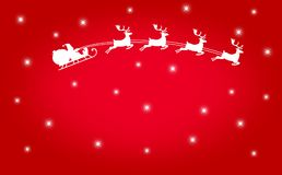 Silhouette of Santa Claus flying with the sleigh and his reindeer on Christmas background vector illustration