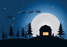 Silhouette santa claus with reindeer sleigh above the hill with. Moon light in forest winter season.  illustration christmas concept Stock Photography