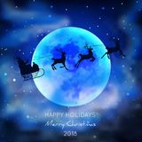 Silhouette Santa Claus On Sledge With Deer sur le fond de lune Images stock
