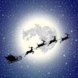 Silhouette Santa Claus sleigh Stock Photography