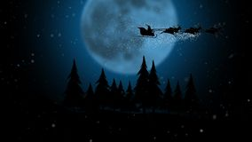 Silhouette santa flying with over full snowflakes moon over night forest. Silhouette