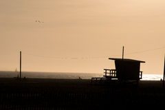 Silhouette of Santa Monica Pier sunset orange sky without cloud,. Los Angeles, USA Stock Images