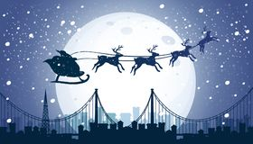 Silhouette Santa and Reindeer Flying Night Sky Stock Images