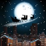 Silhouette of santa and reindeer vector illustration