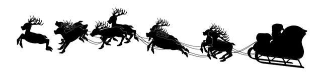 Silhouette of Santa on sleigh. On transparent background Royalty Free Stock Photos