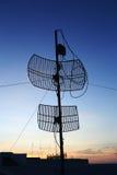 Silhouette satellite communication antenna Royalty Free Stock Photo
