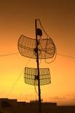 Silhouette satellite communication antenna Royalty Free Stock Photos