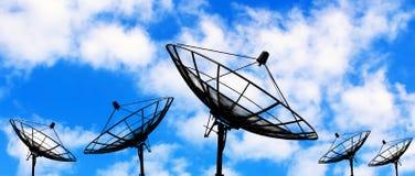 Silhouette satellite dish Stock Image