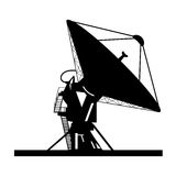 Silhouette satellite dish  Royalty Free Stock Image