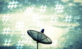 Silhouette Satellite dish and hashtag pattern. Communication tec Stock Images