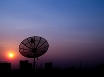 Silhouette satellite dish Stock Photos