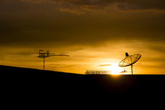 Silhouette of Satellite dish. With sunset sky Royalty Free Stock Image