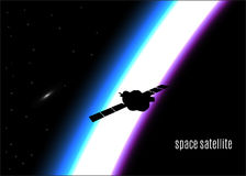 Silhouette of a satellite in outer space with sunrise,eps10. Royalty Free Stock Photo