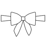 Silhouette satin center ribbon and bow wrapping. Illustration Stock Photos