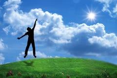 Silhouette sautante photographie stock libre de droits