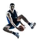 Silhouette sautante de joueur de basket caucasien d'homme Image libre de droits