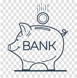 Silhouette of saving money. Concept of saving money in a bank in the form of a piggy piglet and a falling coin. Icon, silhouette in the linear style Royalty Free Stock Image