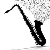 Silhouette of saxophone and music Royalty Free Stock Photo