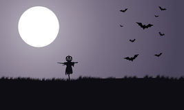Silhouette of scarecrow and bat Halloween Stock Photography