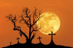 Silhouette scary dead tree and silhouette spooky crosses in mystic graveyard with big full moon. Stock Photo