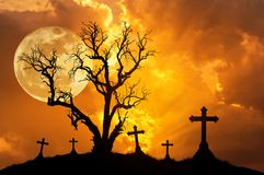 Silhouette scary dead tree and silhouette spooky crosses in mystic graveyard with big full moon. Stock Image