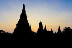 The silhouette scene of the ancient temple in Ayuthaya. Historical park.The twilight scene at the ancient Buddha temple in Ayuthaya ,Thailand Royalty Free Stock Photo