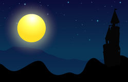 Silhouette scene of castle on fullmoon night Stock Images