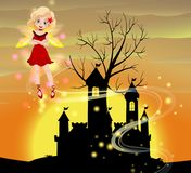 Silhouette scene with fairy flying. Illustration Royalty Free Stock Photography