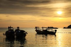 Silhouette sunset scene at Koh Lipe Stock Images