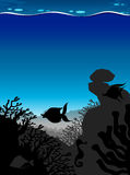 Silhouette scene underwater with blue wave Stock Photography
