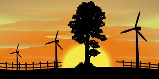 Silhouette scene with wind turbines in the field. Illustration Stock Photography