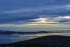 Sunrise Cadillac Mountain cloudy day Royalty Free Stock Image