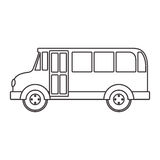 Silhouette school bus with wheels Royalty Free Stock Photos