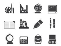 Silhouette School and education icons Stock Photo