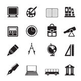 Silhouette School and education icons Stock Image