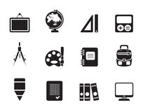 Silhouette School and education icons. Vector icon set Stock Image